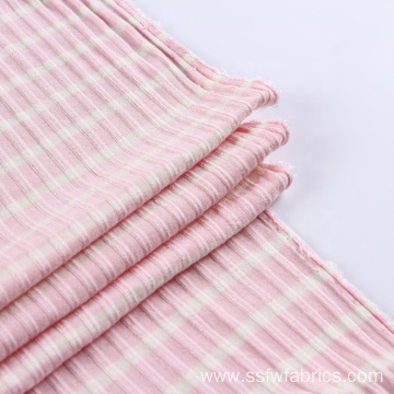 Yarn Dyed Custom Stripe Crinkle Rayon Fabric