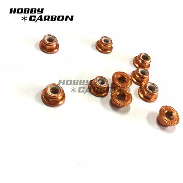 M3 Red Color Aluminum Hex Nylon Lock Nuts