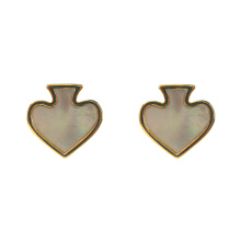 Mother Of Pearl Shell Heart Stud Earrings