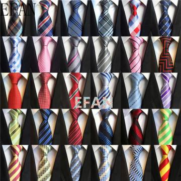 8cm Classic Black Blue White Orange Striped Ties For Men Jacquard Woven 100% Silk Tie Business Wedding Party Men's Tie Necktie