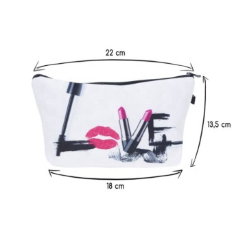 New Design White Lip Letter Pattern Printed Polyester Cosmetic Bag