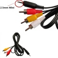 1.5m/4.9ft 2.5mm Male Plug to 3 RCA Male Composite AV Audio Video Cable High Quality Cable Female Port For Car GPS DVR Video