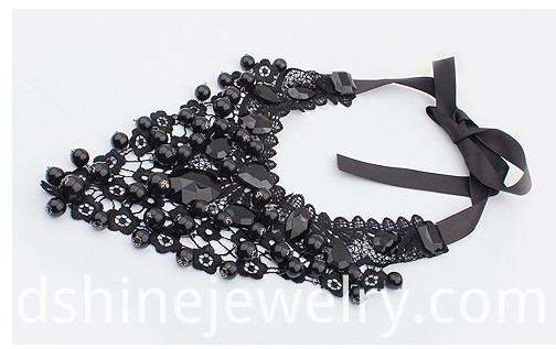 Black Lace Choker With Crystal Imitation Pearls