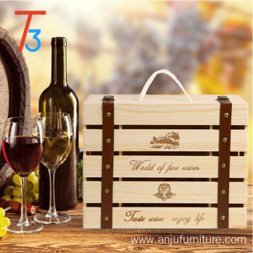 Pine wooden packaging wine crate storage gift box