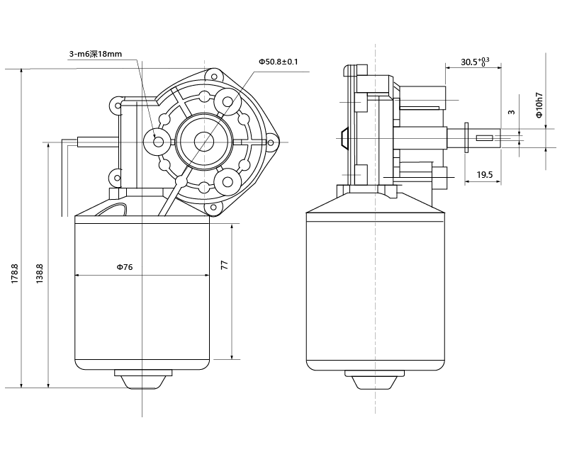 Drawing of MAINTEX ZD76-12120-50 DC Gear Motor
