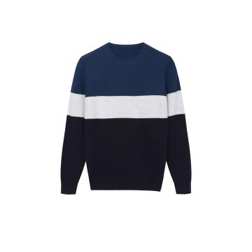 Men's Knitted Colour Block Design Crew-Neck Pullover