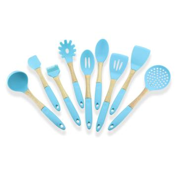 Nonstick Blue Color 9PCS Cooking Silicone Utensils Set