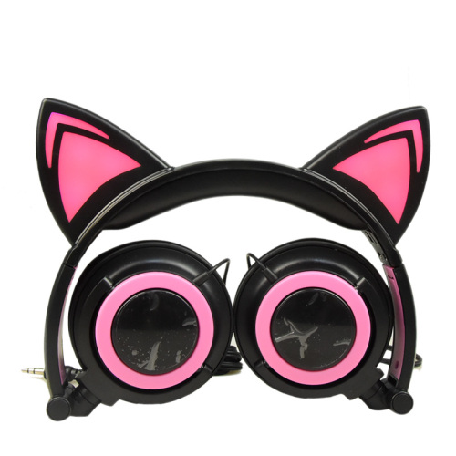 Led Glowing Wired Cat Ear Headphones for Children