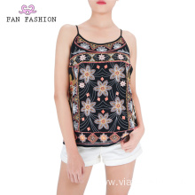 Multicolor Embroidered Tank Tops