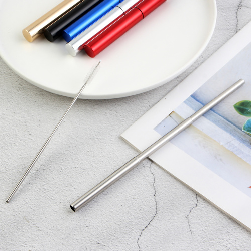 Stainless Steel Collapsible Straw with Cleaning Brush