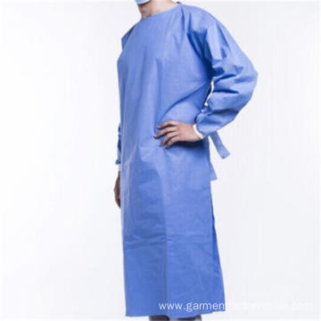 Disposable SMS PP PE Knit Cuff Isolation Gown