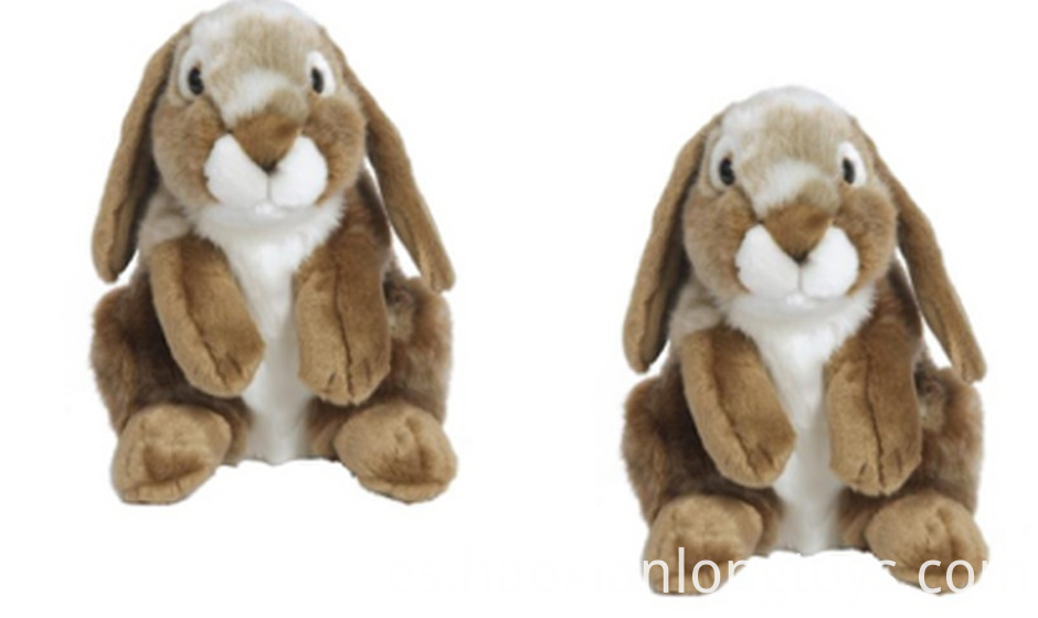 Shy big-eared plush rabbit