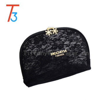 China factory Christmas gifts makeup bag black leather travel bag organizer