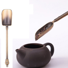 Chinese Kongfu Tea Spoons Copper Tea Scoop Spoon Tea Leaves Chooser Holder Chinese Kongfu Tea Tools Accessories