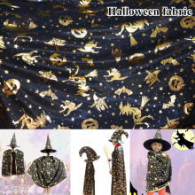 100*150cm Knitting Sewing Fabric Halloween Black Cat Pumpkin Witch Ghost DIY Handmade Material Hometextile Patchwork
