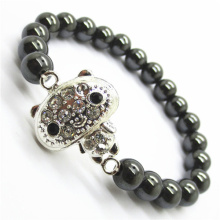 Hematite 8MM Round Beads Stretch Gemstone Bracelet with Diamante alloy Piece