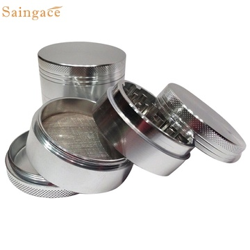 Saingace home New 4-layer Aluminum Herbal Herb Tobacco Grinder Four Stainless Steel Pollen Screen Filter Smoke Grinders