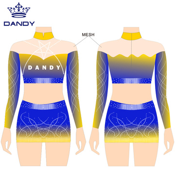 Sublimated crop top cheer uniforms