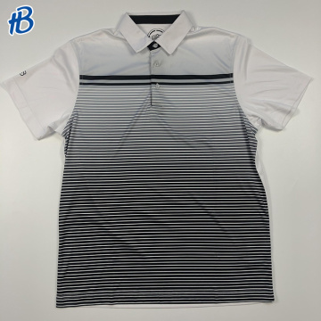 Factory direct high quality china golf gradual white polo shirts with black patterns