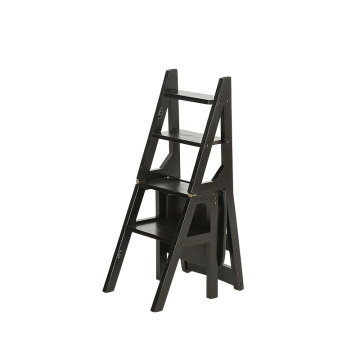 Household multi function folding ladder stool solid wood ascending platform step dual purpose rack stair chair