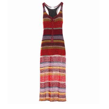 Colorful Stripes Crochet Beach Maxi Dress Summer