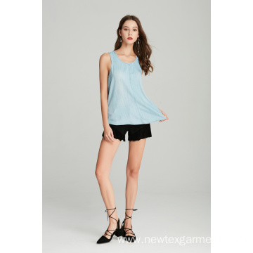 woven ladies tencel denim sleeveless top for summer
