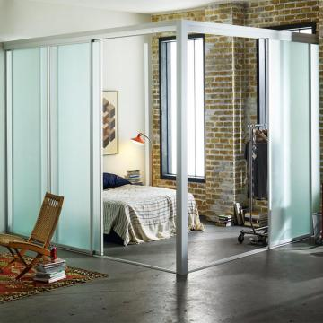 frosted glass sound proof room partition for bedroom