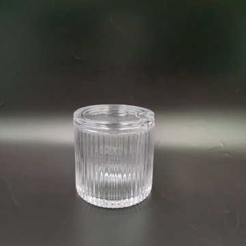Simple style transparent crystal ribbed glass jar for candle