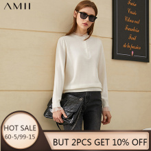 Amii Minimalism Winter Fashion 100%wool Sweaters For Women Causal Lace Patchwork Slim Fit Sweater Female Pullover Tops 12070631