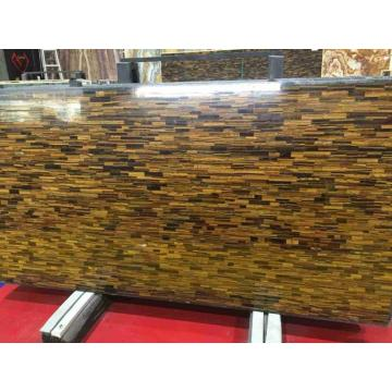 Yellow tiger eye stone slab