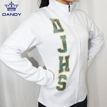 White dance warm up jackets with rhinestones