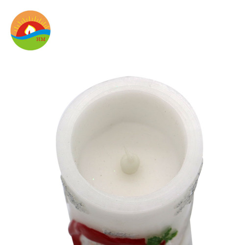 santa claus christmas candle white snowman pillar candle