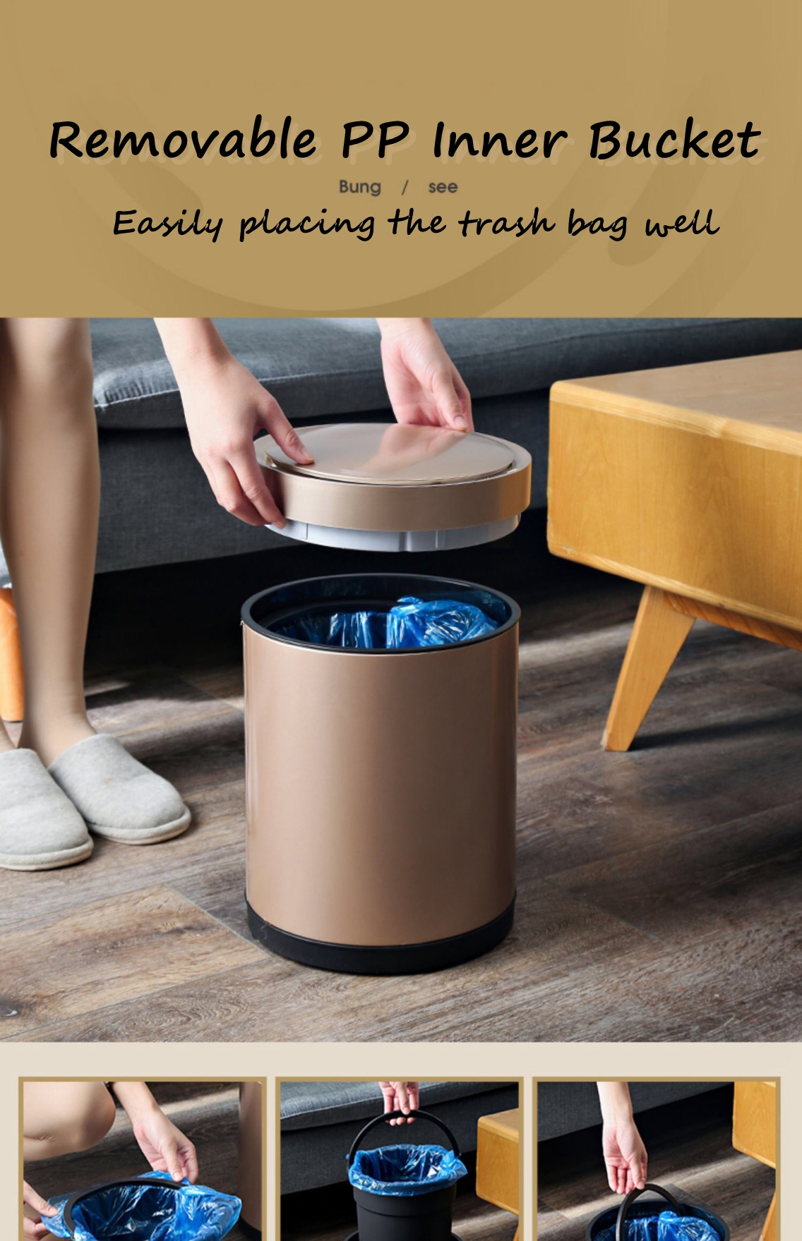Trash Bin with Removable Inner Bucket
