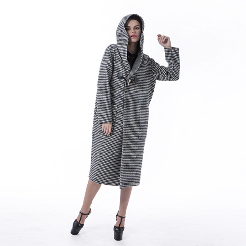 Black and white checked cashmere overcoat with hat