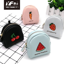 Custom embroidery fruit PU coin purse