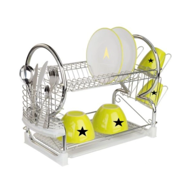 Modern countertop vertical metal dish rack