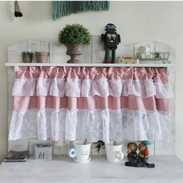 110*45cm 3color lacy valance bowknot curtain for kitchen half window rustic kitchen curtains styles cafe short panel curtain