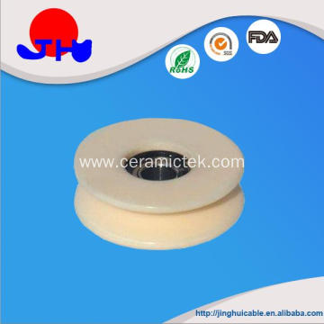 Solid ceramic pulley with bearing