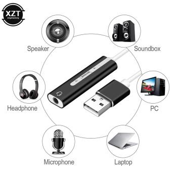 2 in 1 USB Sound Card Audio 7.1 Channel 3D 3.5mm Jack Headphone Adapter Soundcard for Mic Speaker Laptop Computer External