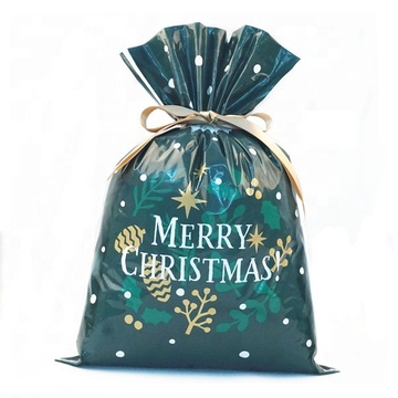 Green Plastic X-mas Drawstring Gift Packing Bag