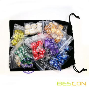 BESCON High Quality Marble Polyhedral Dice Set