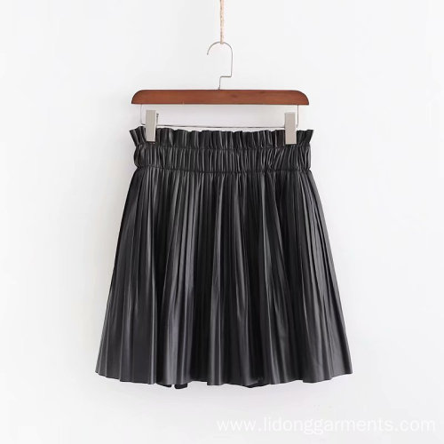 Pleated PU Leather Mini Skirt