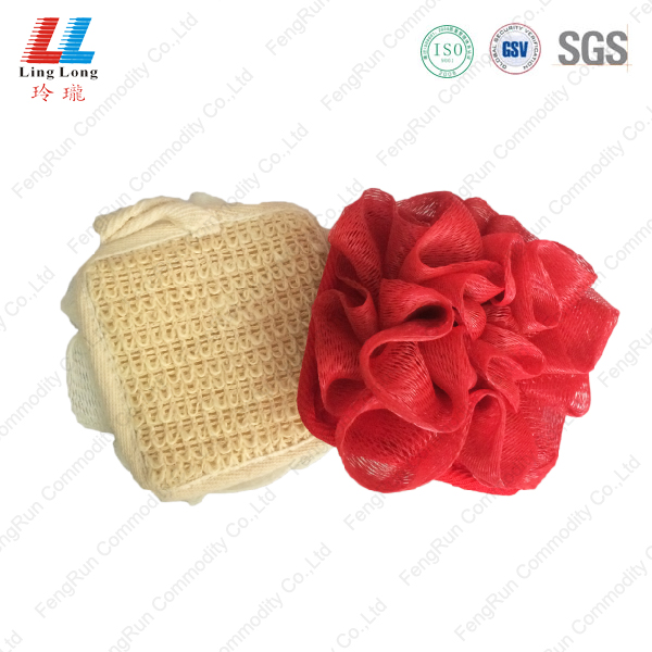 Mix mesh bath sponge with ball