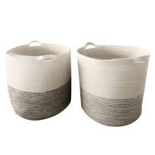 Cotton Rope Basket Storage Basket Handles Decorative Blanket Basket Living Room Laundry Nursery Decor