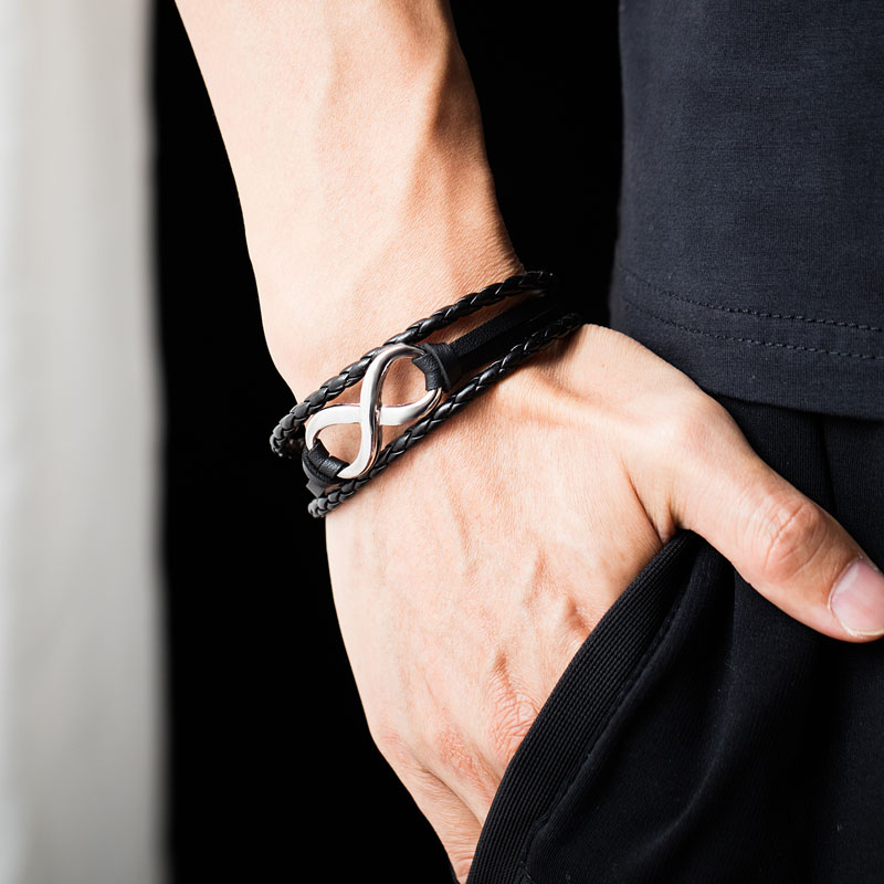 Womens Leather Infinity Bracelet