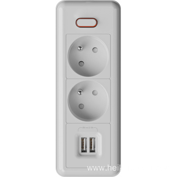 2 ways French extension sockets with USB