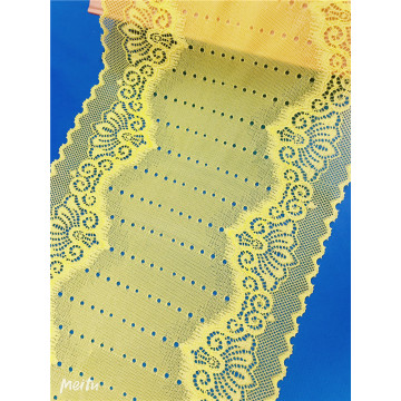 Wide Yellow Elastic Textronic Lace Trim Textile Fabric
