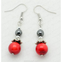 Red Coral 6MM Round Beads hematite earring