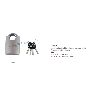 Half covering bridge chrome plated padlock