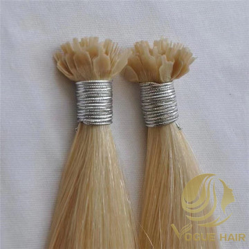 Hot blonde color-fan tip hair extensions